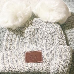 Gray Speckled Double Pom Love Your Melon Beanie